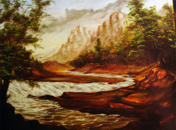 oil painting of the river