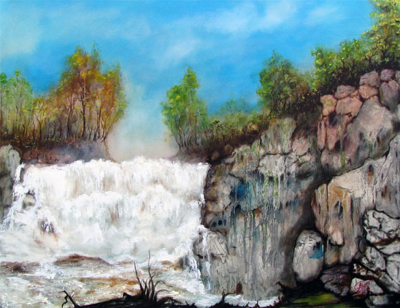 oil painting of the waterfall