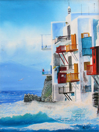 oil painting of building on ocean