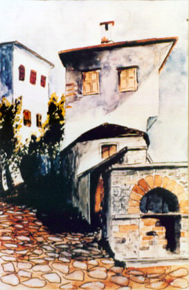watercolor painting of a village