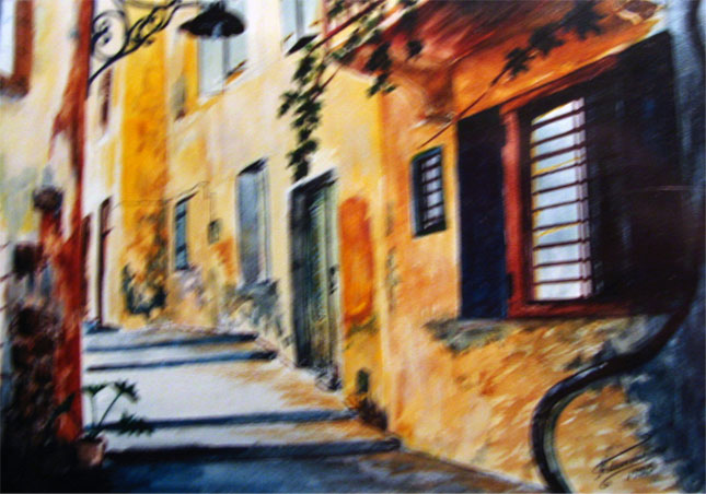 watercolor painting of an alley